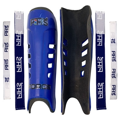 Picture of Field Hockey Shin Guards FORCE Color Blue Available Sizes Small Medium Large With Shin Guard Straps