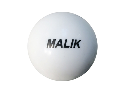 White Smooth Malik Field Hockey Ball Front