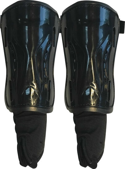 Picture of Field Hockey Shin Guards Jet Black Adult Size with Ankle protector For Soccer Field Hockey