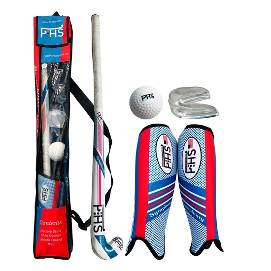 Picture of Field Hockey Set Symphony Wooden Stick Shin Guards Mouth Guard Hockey Ball Carrying Bag Kids Junior, Available in 32'' Inch & 34'' Inch Size's Stick's